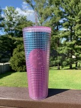 Starbucks Summer 2021 Pink and Blue Grid 24oz Venti Tumbler Teal Cold Cup - $49.50