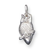 925 Sterling Silver 3-D Polished Owl Charm Pendant - $58.10