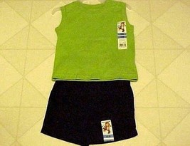 Boys Summer Outfit 12 Month Green Muscle T-Shirt & Black Shorts New Gara... - $10.84