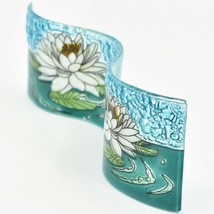 Fused Art Glass White Lotus Flower Wavy Decor Sun Catcher Handmade in Ecuador image 2