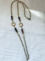 Vintage Sarah Cov Long Goldtone Chain with Rootbeer Plastic Barrel Beads & Open  - $10.39