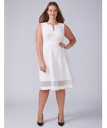 New Lane Bryant Womens Dress 26 White Ivory Mesh Hem Fit Flare Sleeveles... - $67.48
