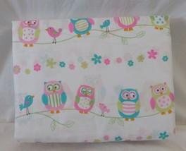 CYNTHIA ROWLEY PINK BLUE GREEN PASTEL OWLS BIRDS TWIN SHEET SET GIRLS - $33.66