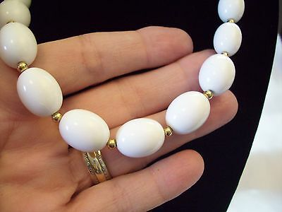 Primary image for Monet White Oval Beads Necklace Choker Gold Plated Spacers Vintage Estate Career