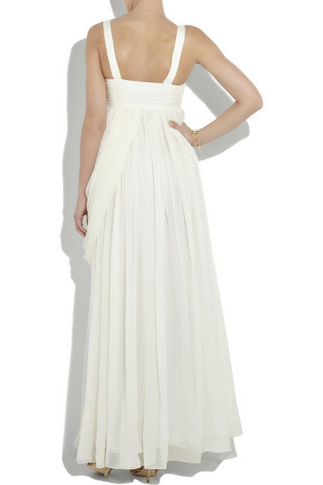 Matthew Williamson Crystal Embellished Maxi Silk-Chiffon Gown Bridal Ivory US10