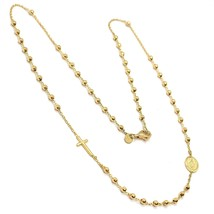 Collar Rosario Oro Amarillo 750 18K, Medalla Milagrosa Cruz, Esferas 2 m... - $740.71