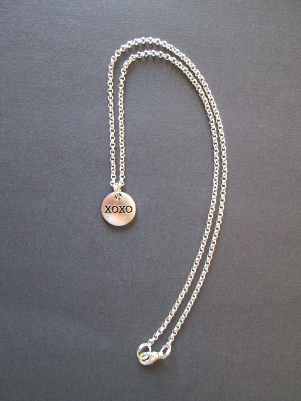 Silver XOXO Friendship Necklace Choker Length With XOXO Hugs and Kisses Charm
