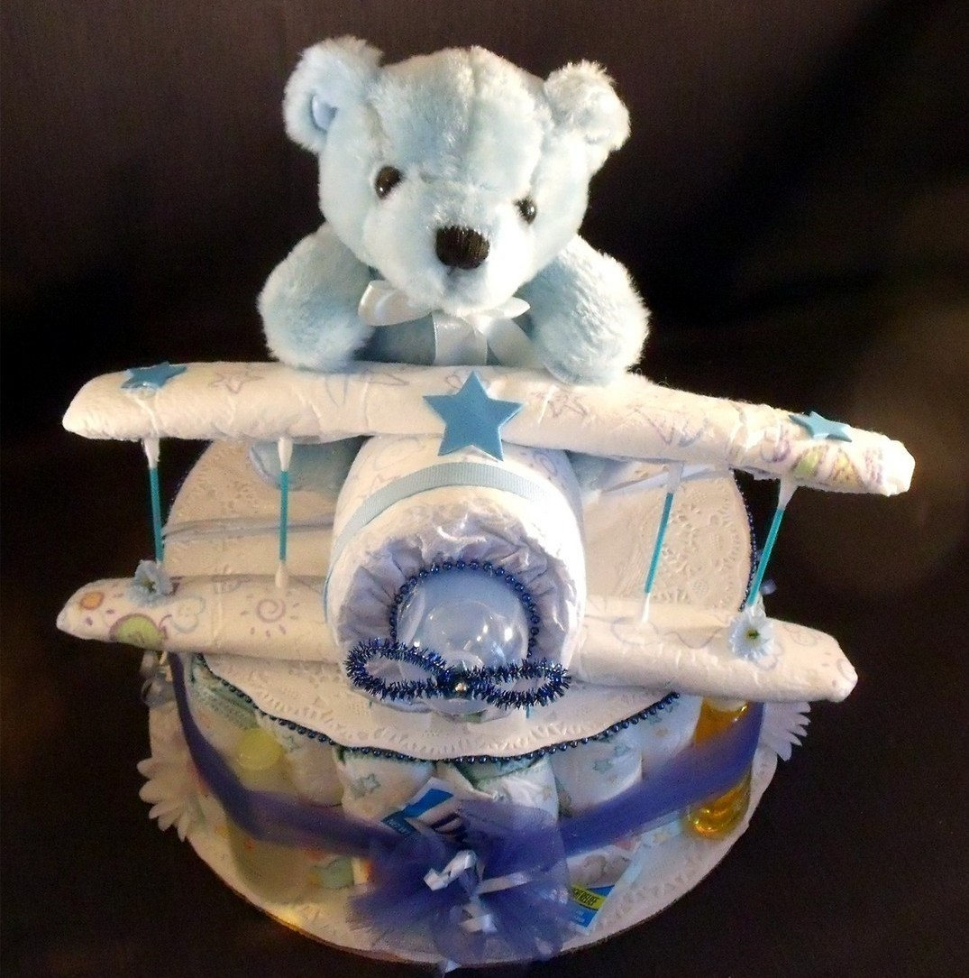 Blue AIRPLANE Baby Shower Gift Boy Diaper Cake Centerpiece ...