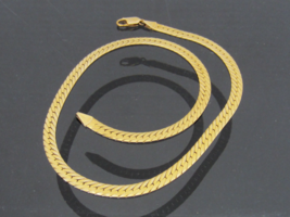 Vintage Italian 14K Solid Yellow Gold Flat Omega Chain Necklace 16 1/2'' Length - $1,100.00