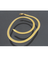 Vintage Italian 14K Solid Yellow Gold Flat Omega Chain Necklace 16 1/2''... - $1,100.00