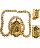 Antique Locket Necklace * Victorian fancy bookchain * LARGE ornate rose ... - $650.00