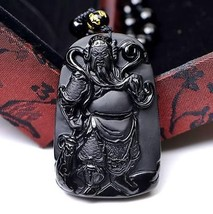 natural Obsidian Hand carved guanyu pendant  - $9.89