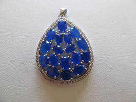 LARGE SAPPHIRE PENDENT (NEW), 925 - £11.36 GBP
