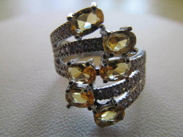 CITRINE CLUSTER RING, SIZE 9, REAL AND NEW. - £8.89 GBP
