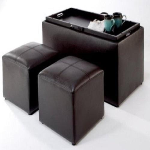 Storage ottoman set 3 piece footstool coffee table for Storage ottoman set