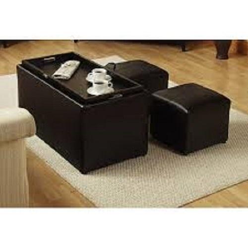 Storage Ottoman Set 3 Piece Footstool Coffee Table Livingroom Seating Dark Brown Ottomans