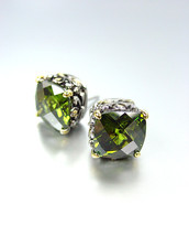 NEW Designer Style PETITE Silver Gold Balinese Olive Peridot CZ Crystal Earrings - £15.19 GBP