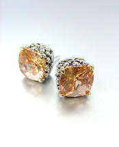 NEW Designer Style PETITE Silver Gold Balinese Brown Topaz CZ Crystal Earrings - £15.19 GBP