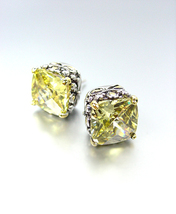 NEW Designer Style PETITE Silver Gold Balinese Yellow Citrine Crystal Earrings - £15.19 GBP