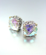 NEW Designer Style PETITE Silver Gold Balinese Iridescent AB CZ Crystal Earrings - $19.99