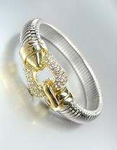 GORGEOUS Designer Style Gold CZ Crystals Buckle Silver Omega Band Bracelet - $26.99