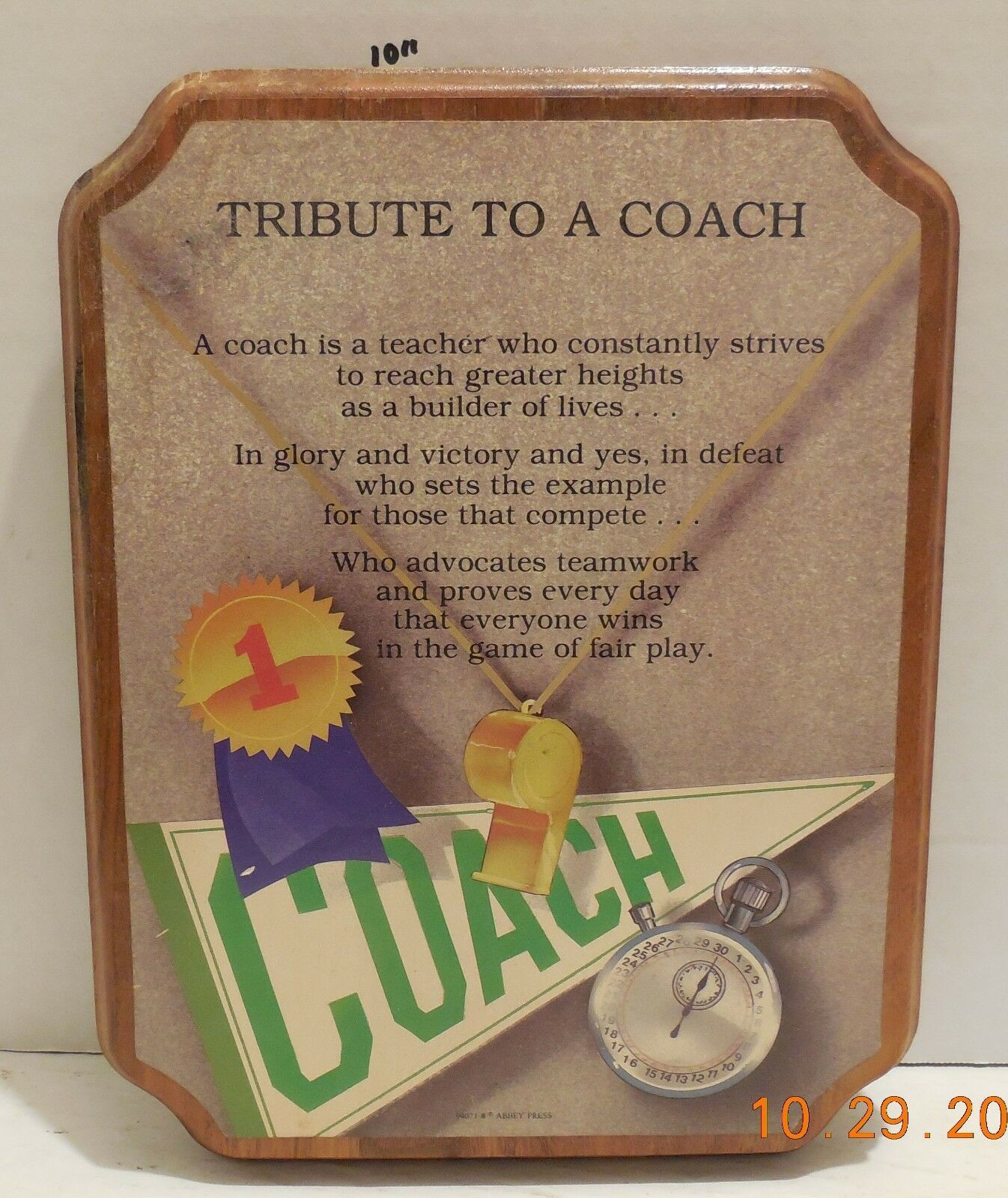 "Gift Plaque for a coach ""tribute to a coach"""
