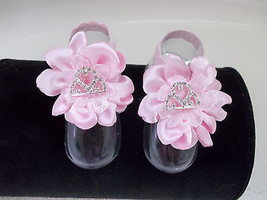 BABY GIRL HANDMADE PINK SATIN & LACE BAREFOOT SANDALS - $8.99