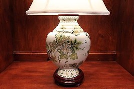 Vintage Porcelain Spring Theme Green Leaf Table Lamp 24' - $183.64