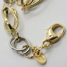 18K WHITE & YELLOW GOLD BRACELET ALTERNATE FINELY WORKED TWISTED OVAL LINK image 3