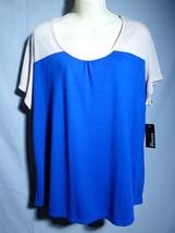 GEORGE top XXL color block blue tan NEW gathers scoop blouse shirt short... - $16.65