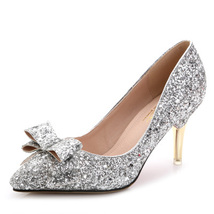 Silver Shoes Sequin Pumps,Pointed Toe High Heel,Closed Toe Pumps,3 Inche... - £62.75 GBP