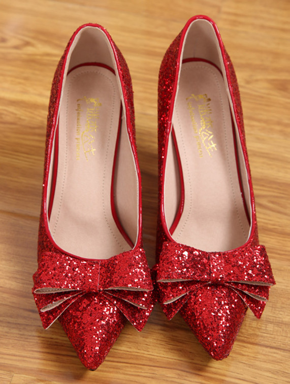 Primary image for Sequin Red bow Pumps,Pointed Toe High Heel,Closed Toe Pumps,3 Inches heels