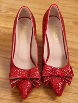 Sequin Red bow Pumps,Pointed Toe High Heel,Closed Toe Pumps,3 Inches heels - £62.75 GBP