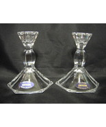 Crystal Candlestick Holders Pair 24% Lead Labeled - $31.18