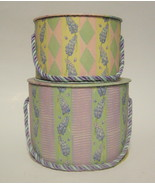 Hat Box Duo Stacking Fruit & Floral Themed with Carrying Cord - $31.18