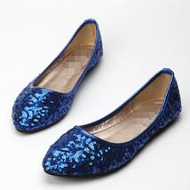 Sequin Blue Ballet Flats Slippers Shoes Evening flats Party flats Wedding Flats - $48.00