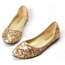 Sequin Glod Ballet Flats Slippers Shoes Evening flats Party flats Wedding Flats - $48.00