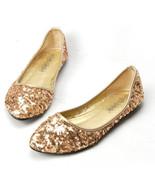 Sequin Gold Ballet Flats Slippers Shoes Evening flats Party flats Weddin... - £39.12 GBP