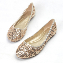 Sequin Champagne Gold Ballet Flats Slippers Shoes Round toe Party flats Wedd - $48.00