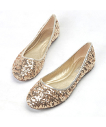 Sequin Champagne Gold Ballet Flats Slippers Shoes Round toe Party flats ... - $48.00