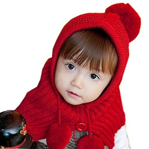 1-4Y Lovely Kids Winter Cape Hat Toddler Woolen Knitted Hat Red