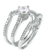 Sterling Silver wedding set CZ Round cut Engagement Ring size 5-9 Bridal... - $19.99