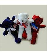 Patriotic Blue Plush Bear with Flag Print - $3.00