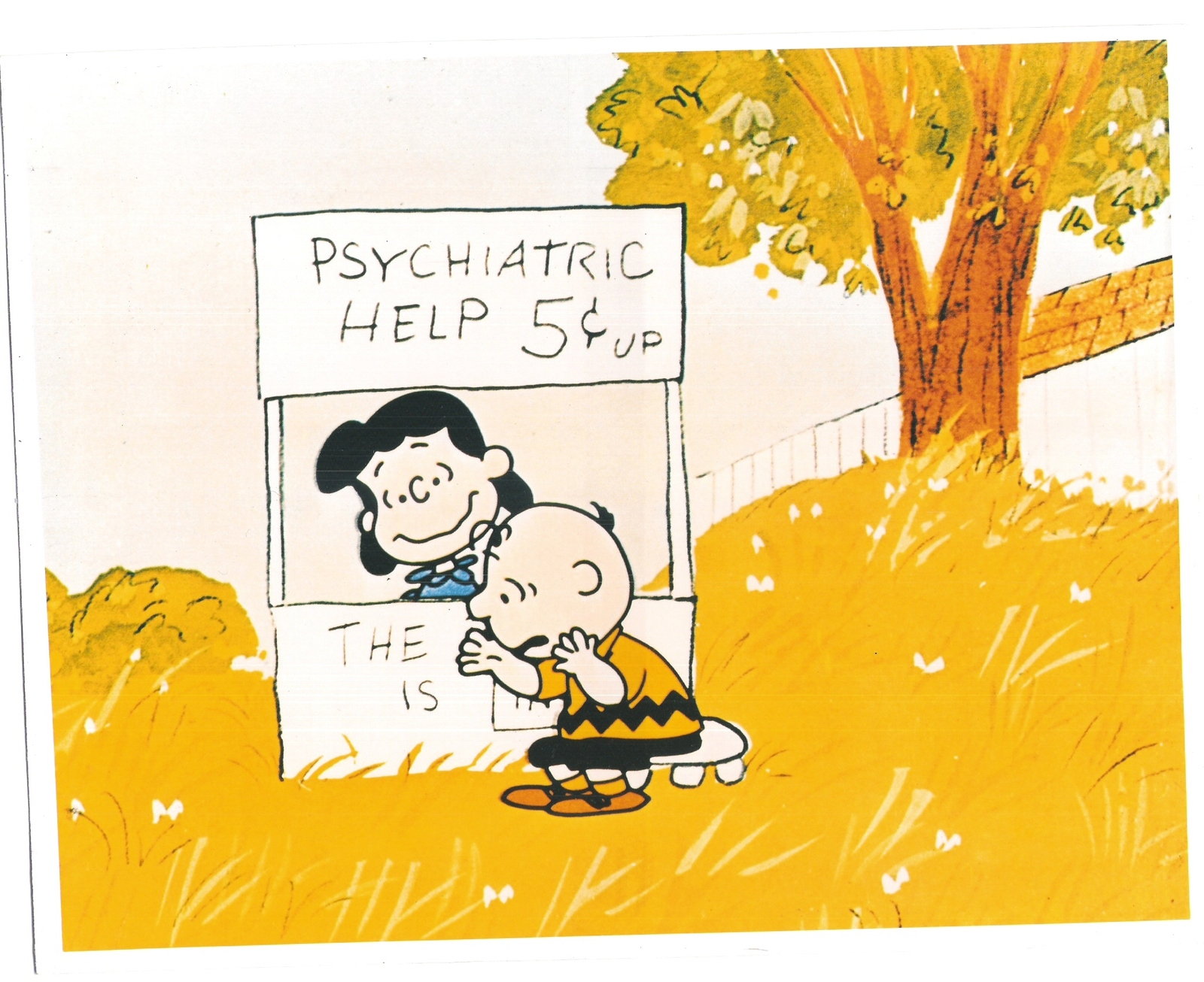 Peanuts Psychiatric Help Charlie Brown Comic Strip Vintage 8X10 Color TV Photo