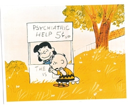 Peanuts Psychiatric Help Charlie Brown Comic Strip Vintage 8X10 Color TV... - $6.99