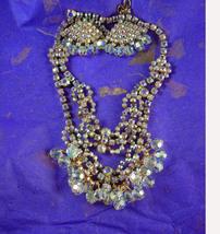 Vintage Rhinestone Necklace & Earrings * Glitzy Loaded chandelier * layered chok - $225.00