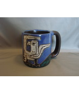 Mara Design Large 16 oz Ceramic Coffee Mug Stoneware Birds Blue Black Gr... - $14.99