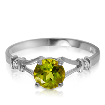 0.87 CTW 14k Solid White Gold Mozart Music Peridot Diamond Ring - $217.74