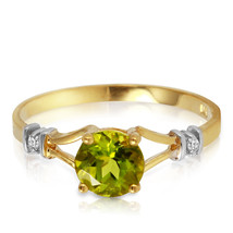 0.87 CTW 14k Solid Yellow Gold Mozart Music Peridot Diamond Ring - £157.00 GBP