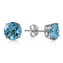 3.1 Ct 14k Solid White Gold Shutting The Eye Blue Topaz Earrings - $185.38